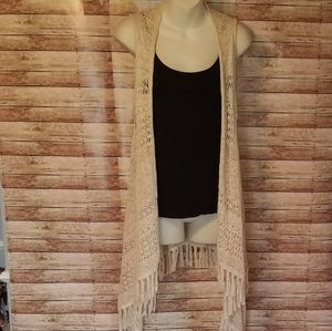 Justice crocheted long vest size 16/18